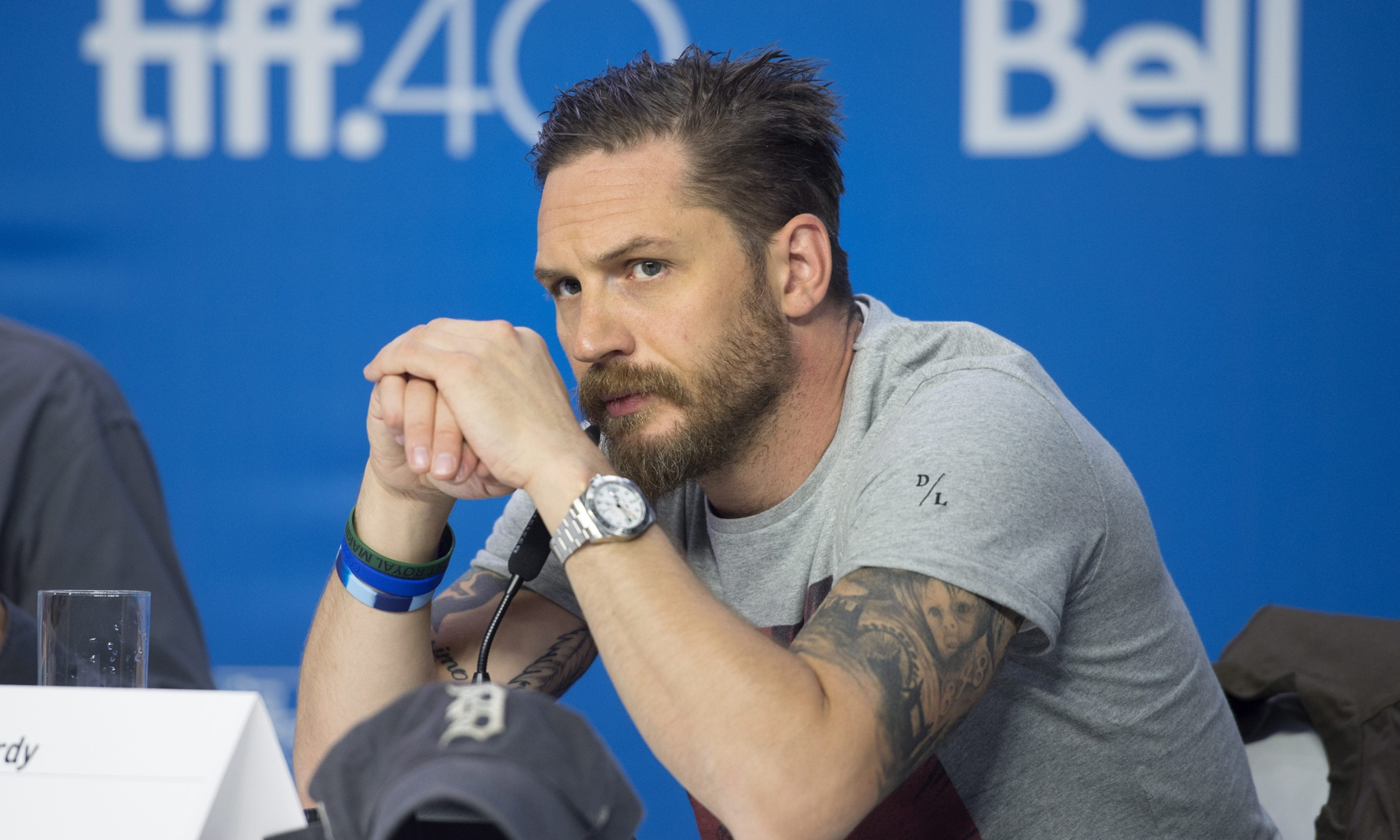 "Actor Tom Hardy listens during a press conference promoting the film ""Legend"" during the 2015 Toronto International Film Festival in Toronto on Sunday, Sept. 13, 2015. (Darren Calabrese/The Canadian Press via AP)"