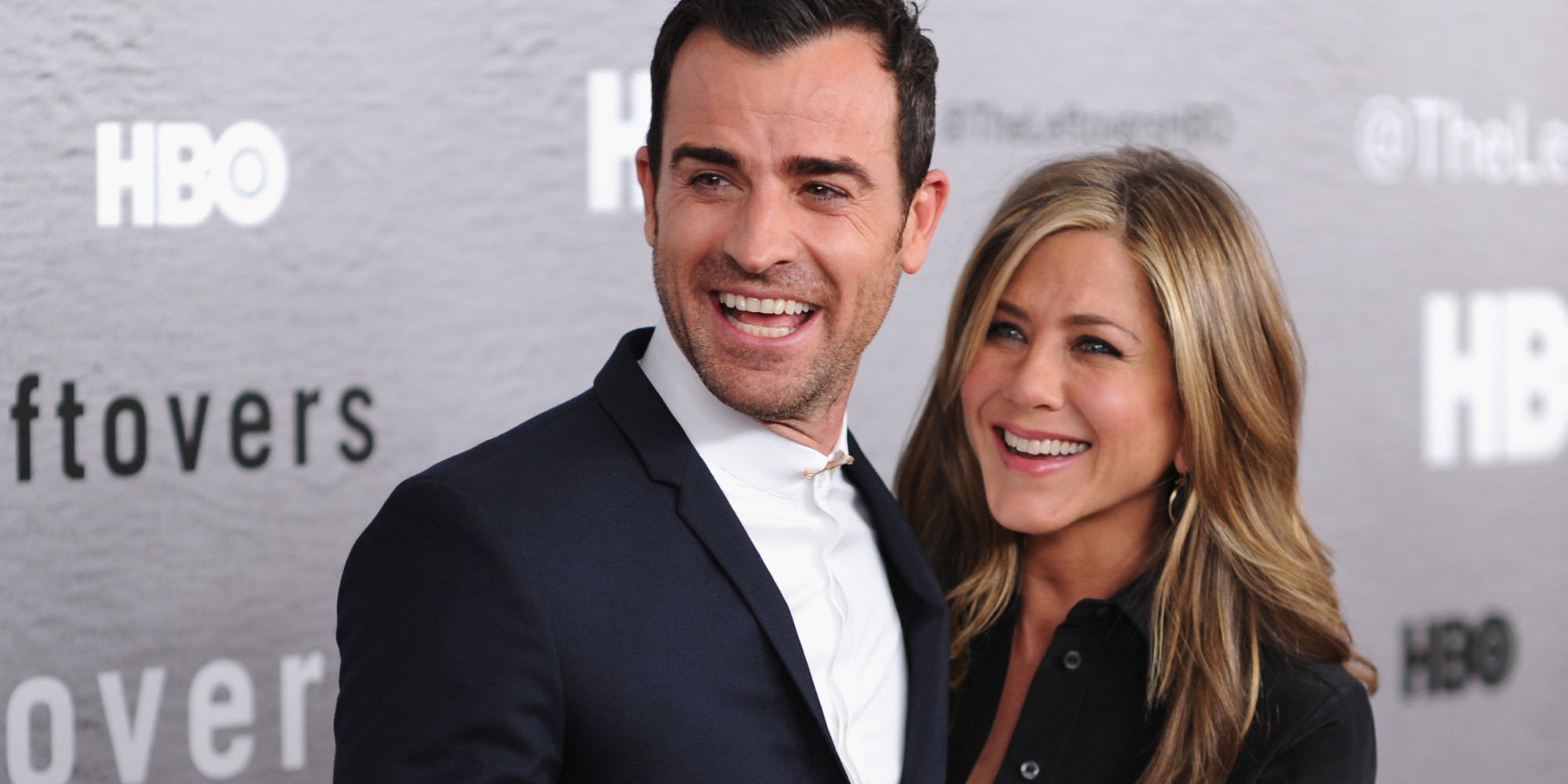"NEW YORK, NY - JUNE 23: Actors Justin Theroux and Jennifer Aniston attend ""The Leftovers"" premiere at NYU Skirball Center on June 23, 2014 in New York City. (Photo by Dimitrios Kambouris/Getty Images)"
