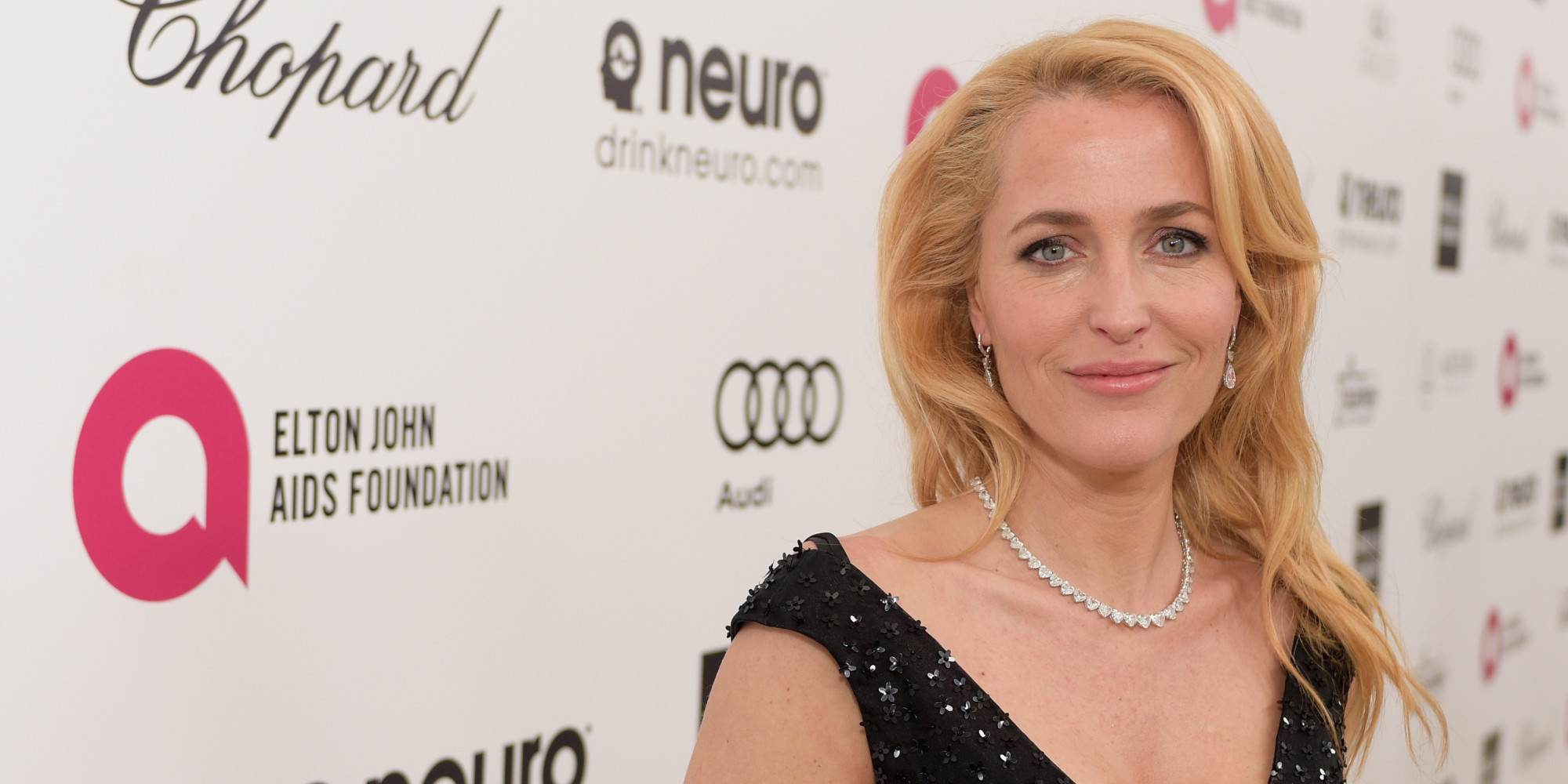 LOS ANGELES, CA - FEBRUARY 22: Actress Gillian Anderson attends the 23rd Annual Elton John AIDS Foundation Academy Awards viewing party with Chopard on February 22, 2015 in Los Angeles, California. (Photo by Stefanie Keenan/Getty Images for Chopard)