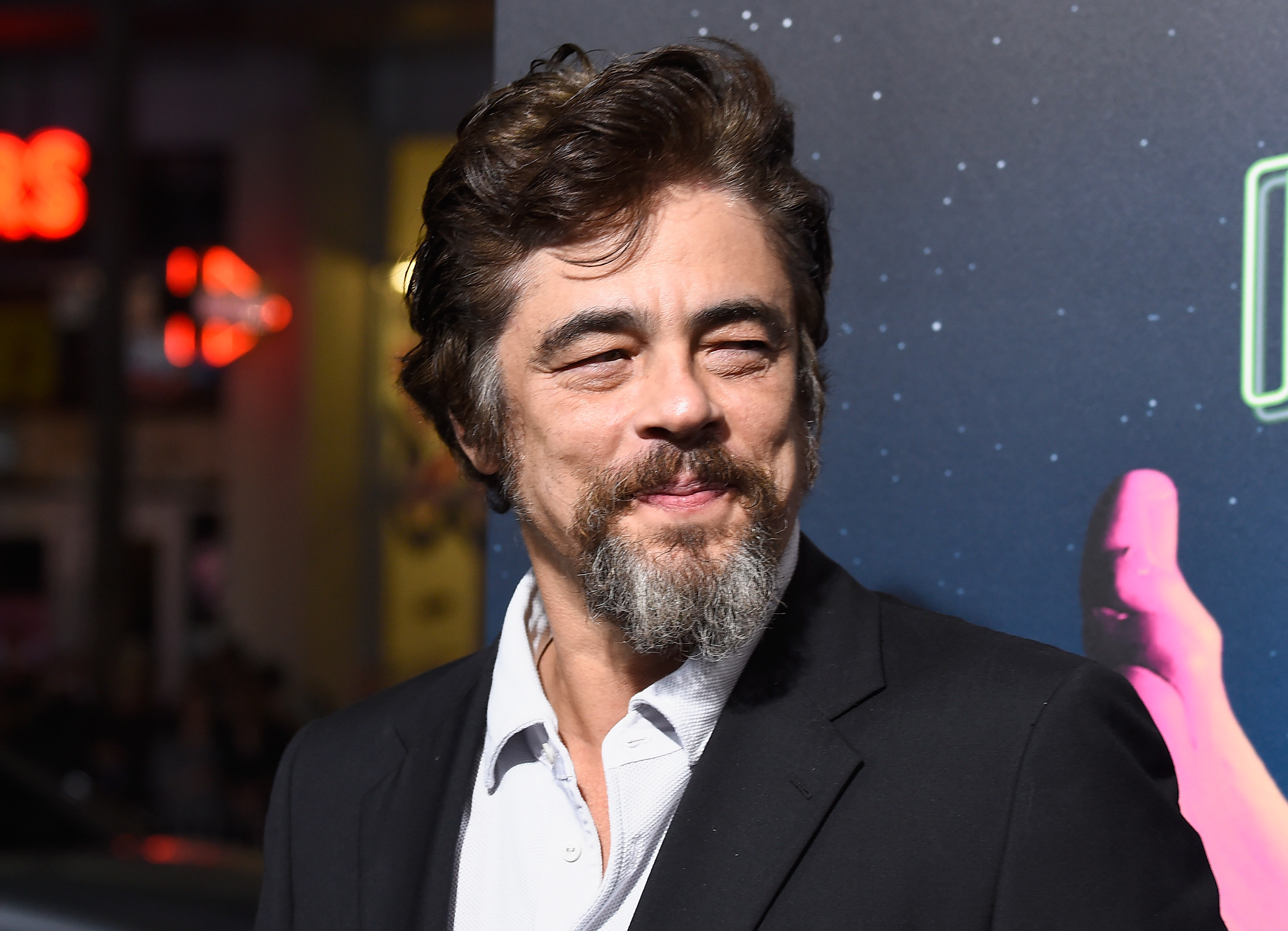 "HOLLYWOOD, CA - DECEMBER 10:  Actor Benicio del Toro attends the premiere of Warner Bros. Pictures' ""Inherent Vice"" at TCL Chinese Theatre on December 10, 2014 in Hollywood, California.  (Photo by Frazer Harrison/Getty Images)"